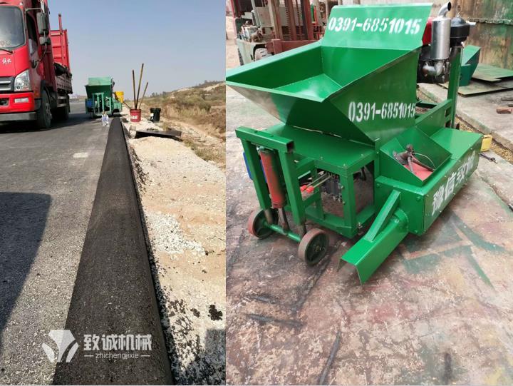 新疆哈密沥青砂拦水带成型现场图片